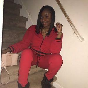 Red and black jumpsuit